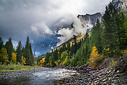 Rainbow over McDonald Creek, Glacier National Park.