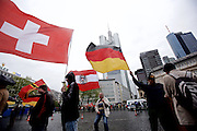 """About 40 right-wing activists of islamophobic """"Freie Buerger fuer Frankfurt"""" (formerly PEGIDA) are rallying in the banking district in the german city of Frankfurt am Main against Islamism and left-wing politics."""