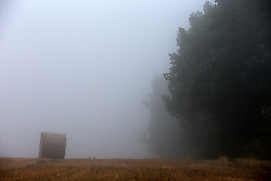 CZECH REPUBLIC VYSOCINA NEDVEZI 19AUG15 - <br /> <br /> Harvested field of wheat and bales of straw in the morning mist near the village of Nedvezi, Vysocina, Czech Republic.<br /> <br /> jre/Photo by Jiri Rezac<br /> <br /> <br /> <br /> © Jiri Rezac 2015