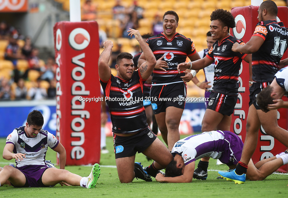 Keany Dawson celebrates his try. NYC Juniors, Holden Cup, Warriors v Storm. Mt Smart Stadium, Auckland, New Zealand. Sunday 20 March 2016. Copyright Photo: Andrew Cornaga / www.Photosport.nz