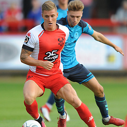TELFORD COPYRIGHT MIKE SHERIDAN 7/8/2018 - Dan Bradley(CORRECT) gets away from Henry Cowans of AFC Telford during the National League North fixture between Kidderminster Harriers FC vs AFC Telford United.