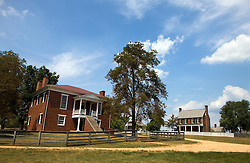 Appomattox County courthouse (present-day NPS visitor's center), with Clover Hill Tavern in the background, Appomattox Court House National Historical Park, Appomattox, Virginia.