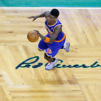 03 May 2013: New York Knicks small forward Iman Shumpert (21) is seen on a fastbreak during the New York Knicks 88-80 victory over the Boston Celtics during Game Six of the Eastern Conference Quarterfinals of the 2013 NBA Playoffs at the TD Garden, Boston, Massachusetts, USA.