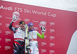 19.03.2011, Pista Silvano Beltrametti, Lenzerheide, SUI, FIS Ski Worldcup, Finale, Lenzerheide, Podium, im Bild Gesamtweltcup Sieger, Ivica Kostelic (CRO), Gesamtweltcup Siegerin, Damen, Maria Riesch (GER) // Overall Weltcup Winner, Men, Ivica Kostelic (CRO), Overall Weltcup Winner, Women, Maria Riesch (GER) during Men´s Downhill, at Pista Silvano Beltrametti, in Lenzerheide, Switzerland, 19/03/2011, EXPA Pictures © 2011, PhotoCredit: EXPA/ J. Feichter