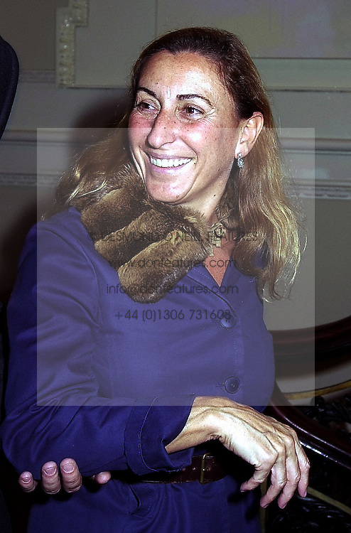 MIUCCIA PRADA of the Prada fashion family, at an exhibition in London on 18th September 2000.OGZ 74