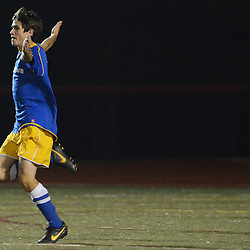 Photos by Tom Kelly IV<br /> West's Cameron Young (2) celebrates his goal during the Downingtown West vs West Chester Rustin boys District One semifinal soccer game which was held Wednesday night October 30, 2013 at West Chester East High School.