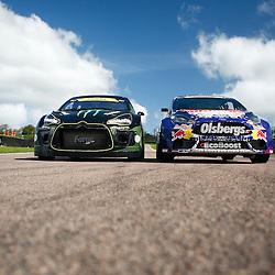 Liam Doran's Citroen DS3 Supercar and Andrew Jordans OMSE Fiesta ST Supercar. World Rallycross Media Day at Lydden Hill Race Circuit, Kent (c) Matt Bristow | SportPix.org.uk