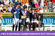 Podium Grade III 1. Tobias Thorning Joergensen, 2. Rixt van der Horst, 3. Barbara Minneci<br /> FEI European Championships 2019<br /> © DigiShots