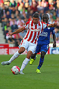 Stoke City's Jonathan Walters strikes the ball during the Barclays Premier League match between Stoke City and Leicester City at the Britannia Stadium, Stoke-on-Trent, England on 19 September 2015. Photo by Aaron Lupton.