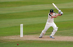 Nottinghamshire's Matt Carter cuts the ball. - Photo mandatory by-line: Harry Trump/JMP - Mobile: 07966 386802 - 16/06/15 - SPORT - CRICKET - LVCC County Championship - Division One - Day Three - Somerset v Nottinghamshire - The County Ground, Taunton, England.