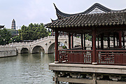 Pavilion along the grand canal in Suzhou, China.
