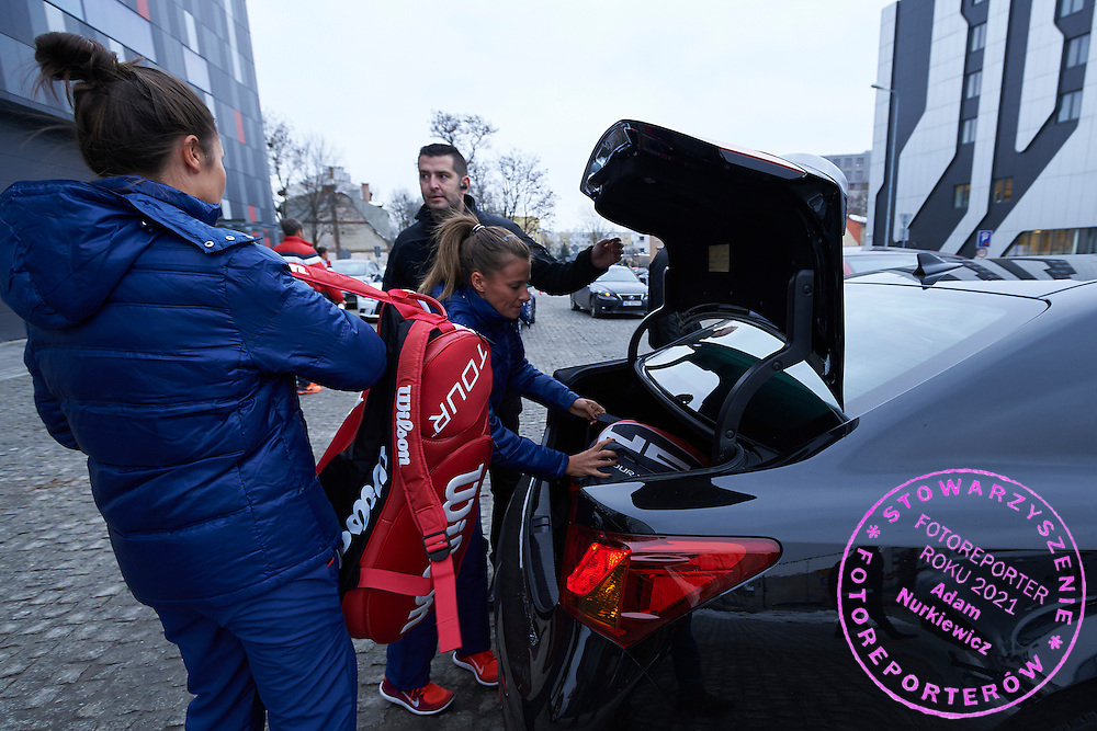 Klaudia Jans Ignacik and Alicja Rosolska all from Poland with Lexus - official transport cars after official draw one day before the Fed Cup / World Group 1st round tennis match between Poland and Russia at Holiday Inn on February 6, 2015 in Cracow, Poland.<br /> <br /> Poland, Cracow, February 6, 2015<br /> <br /> Picture also available in RAW (NEF) or TIFF format on special request.<br /> <br /> For editorial use only. Any commercial or promotional use requires permission.<br /> <br /> Adam Nurkiewicz declares that he has no rights to the image of people at the photographs of his authorship.<br /> <br /> Mandatory credit:<br /> Photo by &copy; Adam Nurkiewicz / Mediasport