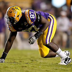 November 13, 2010; Baton Rouge, LA, USA; LSU Tigers defensive end Chancey Aghayere (87) lines up during the second half against the Louisiana Monroe Warhawks at Tiger Stadium. LSU defeated Louisiana-Monroe 51-0.  Mandatory Credit: Derick E. Hingle