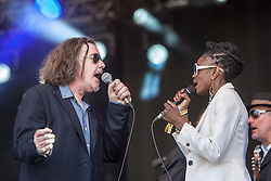 "Jake Black and Aurora Dawn, Alabama 3 play the main stage. Sunday, Rockness 2013, the annual music festival which took place in Scotland at Clune Farm, Dores, on the banks of Loch Ness, near Inverness in the Scottish Highlands. The festival is known as ""the most beautiful festival in the world""."