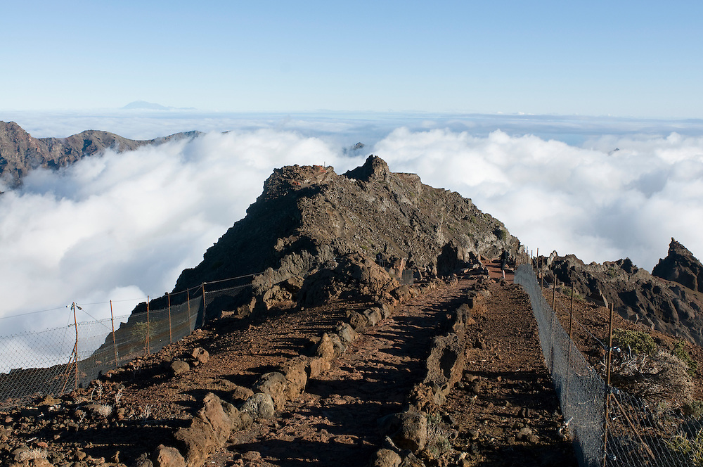 Above the clouds on the rim of the Volcano de Taburiente, La Palma, Canaray islands,Spain