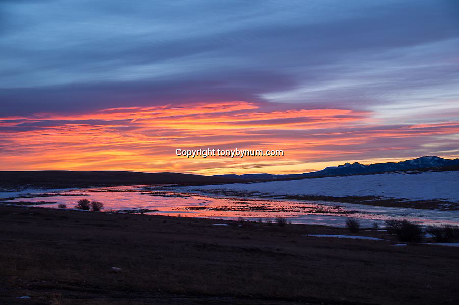 sun rises and reflects off small ice covered pond along the the rocky mountain front in montana, blackfeet indian reservation,