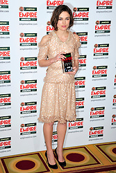 © under license to London News Pictures. 27/03/11. Keira Knightley on the Winners Boards at the Jamesons Empire Film Awards , Sunday 27th March 2011 at the Grosvenor House Hotel, Park Lane, London. Photo credit should read ALAN ROXBOROUGH/LNP