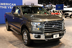 12 February 2015: . Ford F150 XLT pick up truck.<br /> <br /> First staged in 1901, the Chicago Auto Show is the largest auto show in North America and has been held more times than any other auto exposition on the continent. The 2015 show marks the 107th edition of the Chicago Auto Show. It has been  presented by the Chicago Automobile Trade Association (CATA) since 1935.  It is held at McCormick Place, Chicago Illinois