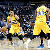 04 March 2017: Denver Nuggets guard Jamal Murray (27) drives on a screen set by Denver Nuggets forward Darrell Arthur (00) during the Charlotte Hornets 112-102 victory over the Denver Nuggets, at the Pepsi Center, Denver, Colorado, USA.