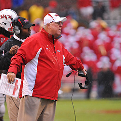 Sep 26, 2009; College Park, MD, USA; Maryland Ralph Friedgen speaks with referees during Rutgers' 34-13 victory over Maryland in NCAA college football at Byrd Stadium.