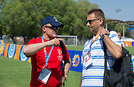 (L) Boguslaw Galazka - Director of Special Olympics Poland & (R) trainer while soccer match between SO Poland and SO Israel at male's 7-a-side tournament during 2011 Special Olympics World Summer Games Athens on June 27, 2011..The idea of Special Olympics is that, with appropriate motivation and guidance, each person with intellectual disabilities can train, enjoy and benefit from participation in individual and team competitions...Greece, Athens, June 27, 2011...Picture also available in RAW (NEF) or TIFF format on special request...For editorial use only. Any commercial or promotional use requires permission...Mandatory credit: Photo by © Adam Nurkiewicz / Mediasport