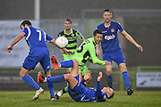 Forest Green Rovers Midfielder, Fabien Robert (26) tackled during the FA Trophy match between Forest Green Rovers and Truro City at the New Lawn, Forest Green, United Kingdom on 10 December 2016. Photo by Adam Rivers.