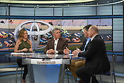 "Fox Sports ""Race Hub""  hosts  Adam Alexander and Shannon Spake which is broadcast from the Charlotte, North Carolina studios."