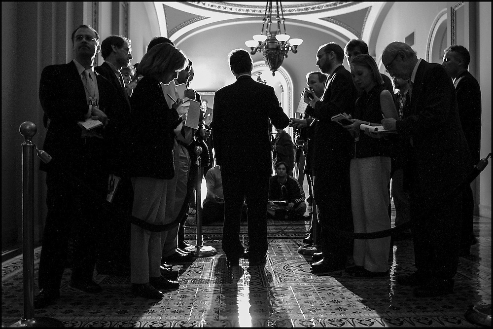 Daschle talks to the press on Capitol Hill after meeting with Democratic Members.  9/21/01..©PF BENTLEY/PFPIX.com