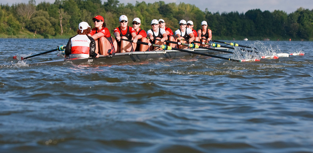 London, Ontario ---11-08-10--- The Canadian women's 8 rowing team of Janine Hanson, Cristy Nurse, Natalie Mastracci,  Rachelle Viinberg, Krista Guloien, Ashley Brzozowicz, Darcy Marqvardt, Andreanne Morin and Cox Lesley Thompson- Willie takes to the waters of Fanshawe Lake in London Ontario for a practice in the early hours of  August 10, 2011.<br /> GEOFF ROBINS The Globe and Mail