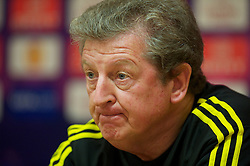 LIVERPOOL, ENGLAND - Wednesday, September 15, 2010: Liverpool's manager Roy Hodgson during a press conference at Anfield ahead of the opening UEFA Europa League Group K match against FC Steaua Bucuresti. (Photo by David Rawcliffe/Propaganda)
