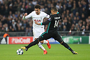 Tottenham Hostpur midfielder Deli Alli (20) dribbling past Real Madrid midfielder Casemiro (14) on his way to score during the Champions League match between Tottenham Hotspur and Real Madrid at Wembley Stadium, London, England on 1 November 2017. Photo by Matthew Redman.