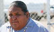 Verlon Jose, vice-chairman of the Tohono O'odham Nation, pauses near the U.S. - Mexico border on the Tohono O'odham reservation in Chukut Kuk, Arizona April 6, 2017. Picture taken April 6, 2017.  REUTERS/Rick Wilking
