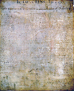 United States Declaration of Independence, authorised by (American) Continental Congress, 2 July 1776. With minor revisions released publicly on 4 July 1776.