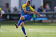 Darren Carter of Solihull Moors (8) shoots with a freekick during the Vanarama National League match between Harrogate Town and Solihull Moors at Wetherby Road, Harrogate, United Kingdom on 25 August 2018.