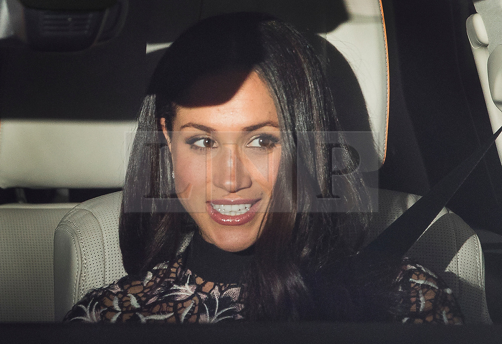 © Licensed to London News Pictures. 20/12/2017. London, UK. Meghan Markle leaves Buckingham Palace after attending the Queen's annual Christmas lunch. Photo credit: Peter Macdiarmid/LNP