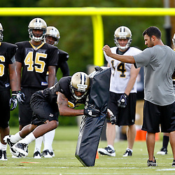 July 29, 2011; Metairie, LA, USA; New Orleans Saints rookie cornerback Johnny Patrick (32) participates in a tackling drill during the first day of training camp at the New Orleans Saints practice facility. Mandatory Credit: Derick E. Hingle