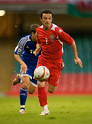 CARDIFF, WALES - Saturday, October 11, 2008: Wales' Simon Davies in action against Liechtenstein during the 2010 FIFA World Cup South Africa Qualifying Group 4 match at the Millennium Stadium. (Photo by David Rawcliffe/Propaganda)