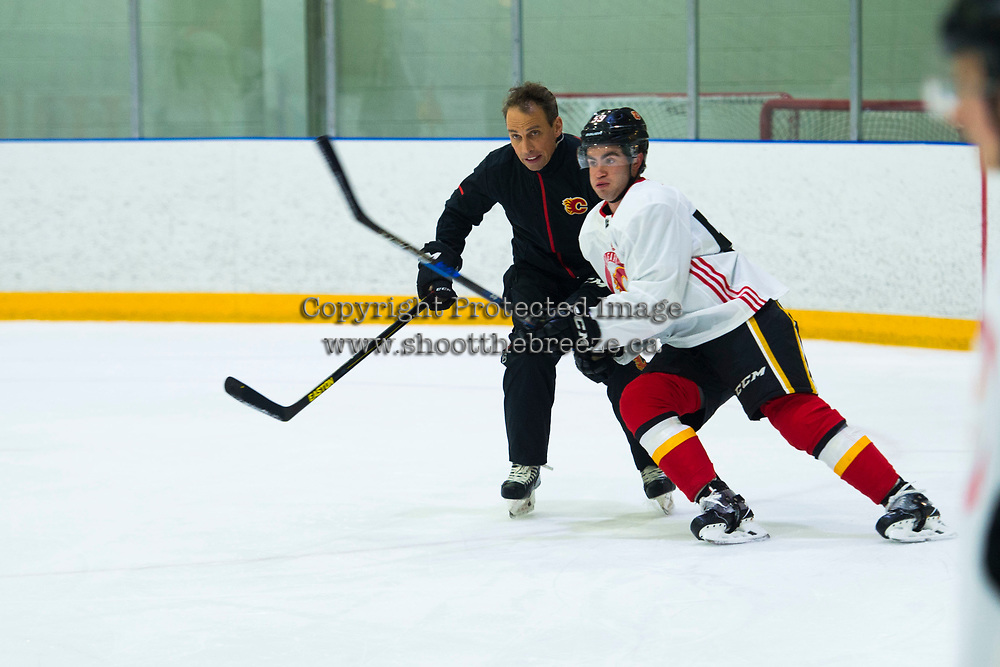 PENTICTON, CANADA - SEPTEMBER 8: Dillon Dube #59 of Calgary Flames skates during morning practice on September 8, 2017 at the South Okanagan Event Centre in Penticton, British Columbia, Canada.  (Photo by Marissa Baecker/Shoot the Breeze)  *** Local Caption ***