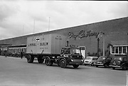 28/05/1962<br /> 05/28/1962<br /> 28 May 1962<br /> Fry-Cadbury factory on the Malahide Road, Dublin. Picture shows loaded container leaving Fry Cadbury for shipping.