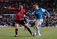 Photo: Glyn Thomas.<br />Birmingham City v Manchester United. Carling Cup.<br />20/12/2005.<br /> Manchester United's Wes Brown (L) and Birmingham's Jiri Jarosik.