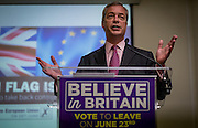 UNITED KINGDOM, London: 22 June 2016 Leader of UKIP Nigel Farage gives his final speech to leave the EU the day before the vote in central London. Pic by Andrew Cowie / Story Picture Agency