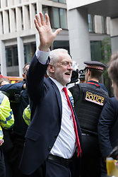 © Licensed to London News Pictures. 09/06/2017. LONDON, UK.  JEREMY CORBYN leaves Labour Party Headquarters in London this morning.  Photo credit: Vickie Flores/LNP