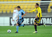 Sydney FC's Alessandro del Piero, left, plays in front of Wellington Phoenix's Leo Bertos in the A-League football match at Westpac Stadium, Wellington, New Zealand, Saturday, October 06, 2012. Credit:SNPA / Ross Setford