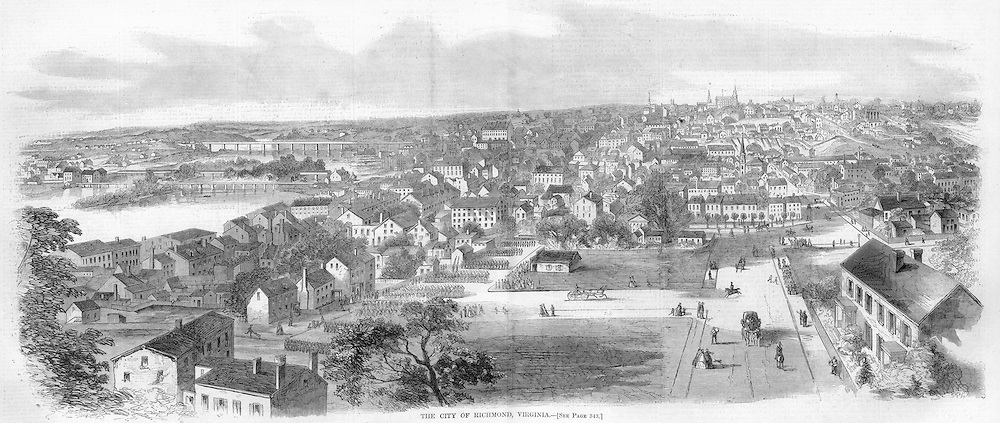 """Civil War: 1862 Harper's Weekly May 31, 1862 pages 344-345. Richmond Virginia.    The lower image is a stunning illustration of Richmond, Virginia as it looked in 1862 during the Civil War.  """"The City of Richmond- . RICHMOND, VIRGINIA, THE REBEL CAPITAL, .Richmond is situated on the James River, 23 miles north of Petersburg, 113 south by west of Washington, and about 150 miles from the mouth of the river. Its population in 1854 was 30,000; its exports about $3,000,000, chiefly wheat and tobacco...The principal feature that strikes every one who sees Richmond for the first time is its curious topography. From the James River, which, tumbling over its rocky bed, makes a wide bend here, with its convex face to the city, rise, without any regard to uniformity of direction, some half dozen hills of gravel formation and of pretty considerable elevation. There has never been any attempt to grade them into level streets, but the city is scattered promiscuously up and on and over them, just as fashion, taste, or business may have happened to dictate. The principal part of the city, however, occupies actually only one of those elevations, and the garden spot of that one is the Capitol Square, where stands the building of which Jefferson procured the design in France, but which, however magnificent it may have been deemed in the simple, unostentatious days in which it was built, is certainly"""