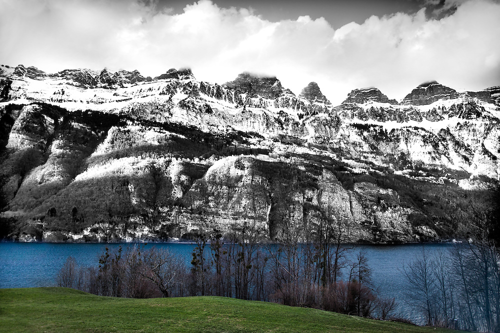 Snow dusted mountains over Lake Annecy in France. March 2013.