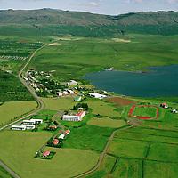 Laugarvatn sÈ? til nor?austurs, Laugardalshreppur..Laugarvatn school and tourist resort viwing northeast.