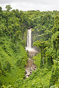 Tropical waterfall set in a verdant valley on Upolu, Western Samoa.