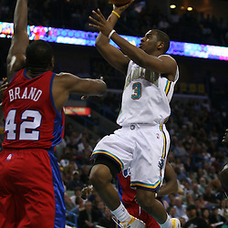 15 April 2008: New Orleans Hornets guard Chris Paul #3 shoots from the lane as Elton Brand #42 of the Los Angeles Clippers defends in the second half of the Hornets 114-92 Southwestern Division clinching victory over the Clippers at the New Orleans Arena in New Orleans, Louisiana.