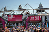 Visitors flock to technical rehearsal for the opening ceremony of the 2012 Olympic Games, at the Olympic stadium, London.