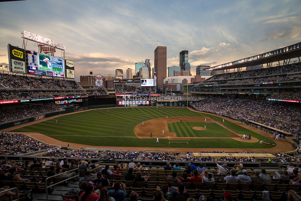 MINNEAPOLIS, MN- JUNE 09: A general view of Target Field during a game between the Minnesota Twins and the Kansas City Royals on June 9, 2015 at in Minneapolis, Minnesota. The Royals defeated the Twins 2-0. (Photo by Brace Hemmelgarn) *** Local Caption ***